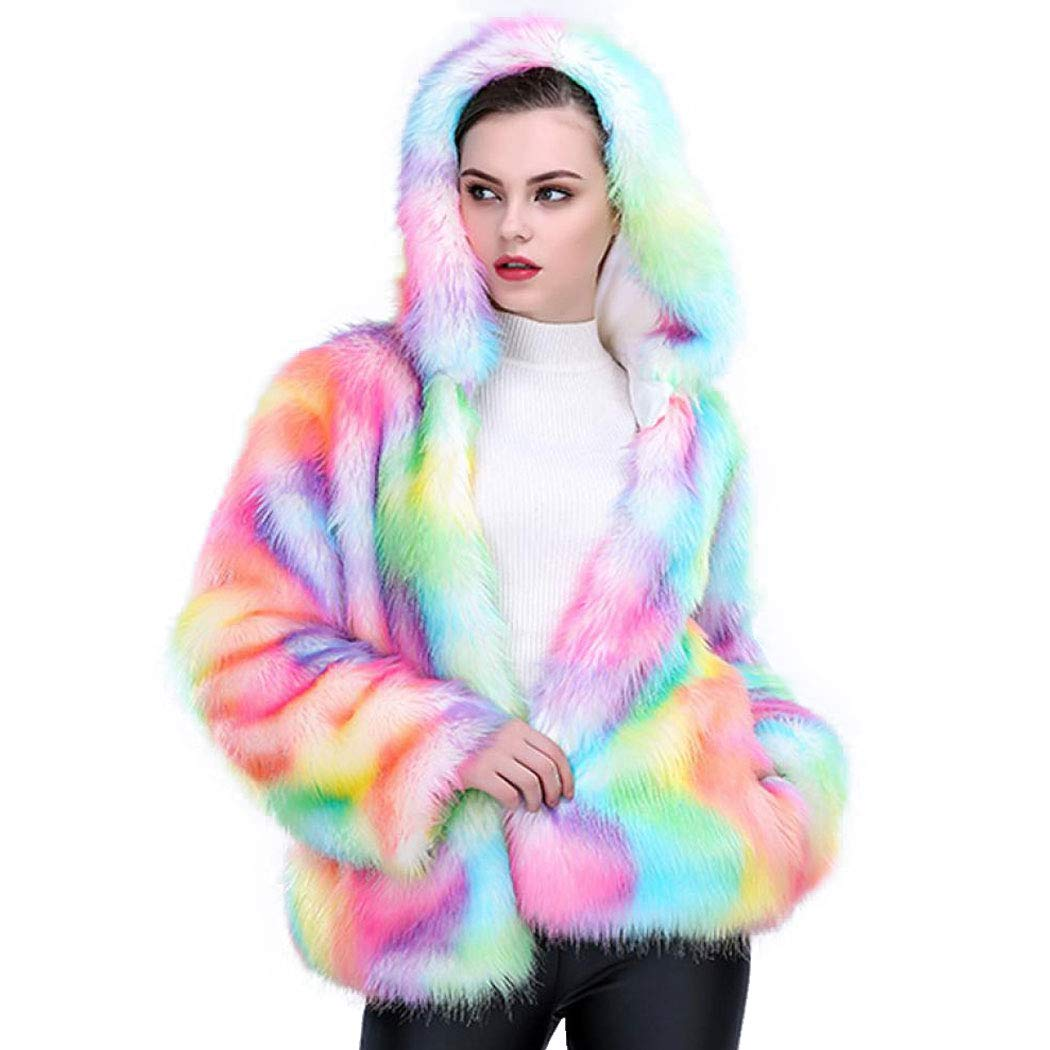 Shilanmei Women Faux Fur Coat Rainbow Color Winter Fluffy Wrap Thick Outerwear Fur Jacket Parkas with Hood (Tag 3XL = US 18)