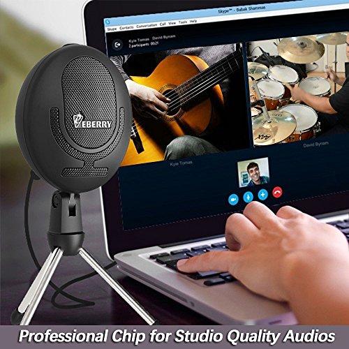 Micrófono Cobarde de eBerry, Micrófono USB Cardioide Micrófono de Condensador de Estudio Micrófono de Grabación para Computadora Windows /Mac Computadora Portátil de Escritorio (Negro)
