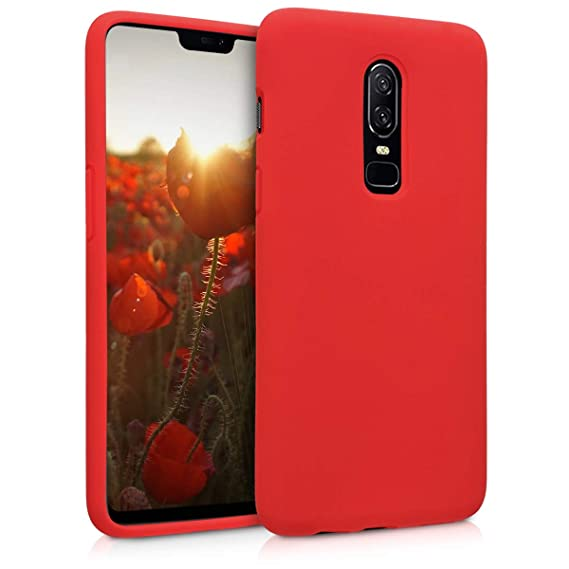 info for 1e997 cb1a1 kwmobile TPU Silicone Case for OnePlus 6 - Soft Flexible Rubber Protective  Cover - Red