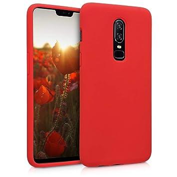 kwmobile Funda para OnePlus 6 - Carcasa de [TPU] para teléfono móvil - Cover [Trasero] en [Rojo]