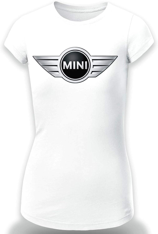 T-SHIRT Mini Cooper Logo Camiseta MOJER//Women Coche//Clipart Car Auto tee Top Negro Blanco Mangas Corta Larga Presente