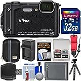Nikon Coolpix W300 4K Wi-Fi Shock & Waterproof Digital Camera (Black) 32GB Card + Case + Battery & Charger + Flex Tripod + Float Strap + Kit
