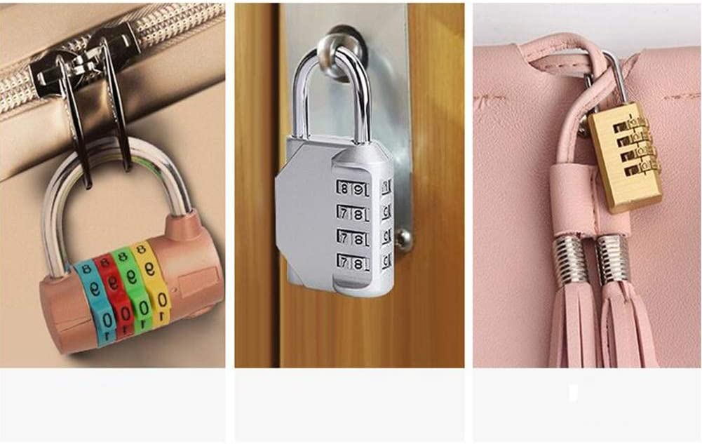 Color : Red MUMA 4 Digital Combination Lock Security Padlock,Resettable Locks,Alloy Waterproof Number Lock For Gym School Office Home Or Outdoor Shed