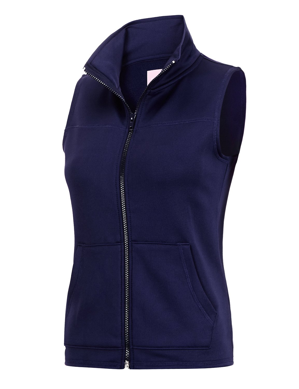 Regna X Womens Plus Size Windproof Full Zip up Fleece Vest Jacket Navy 2XL