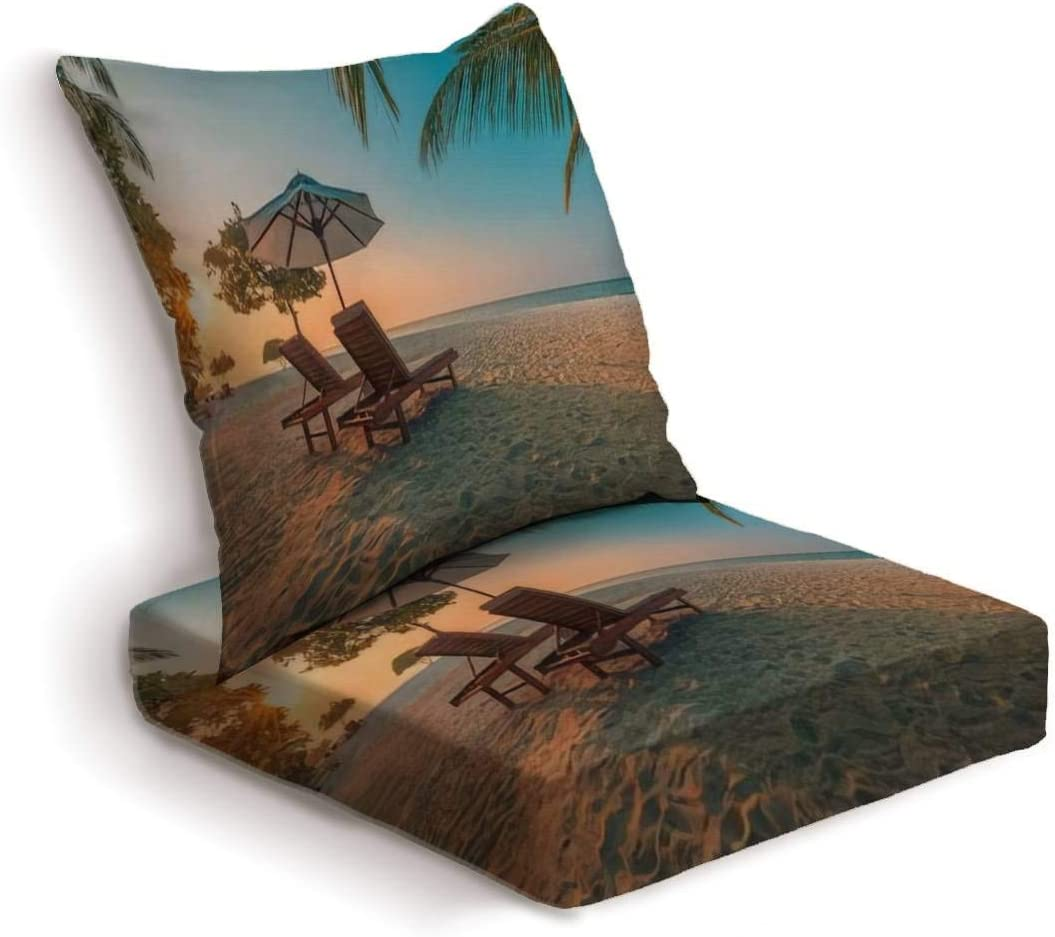 2-Piece Outdoor Deep Seat Cushion Set Romantic beach scenery summer vacation or honeymoon background Travel Back Seat Lounge Chair Conversation Cushion for Patio Furniture Replacement Seating Cushion