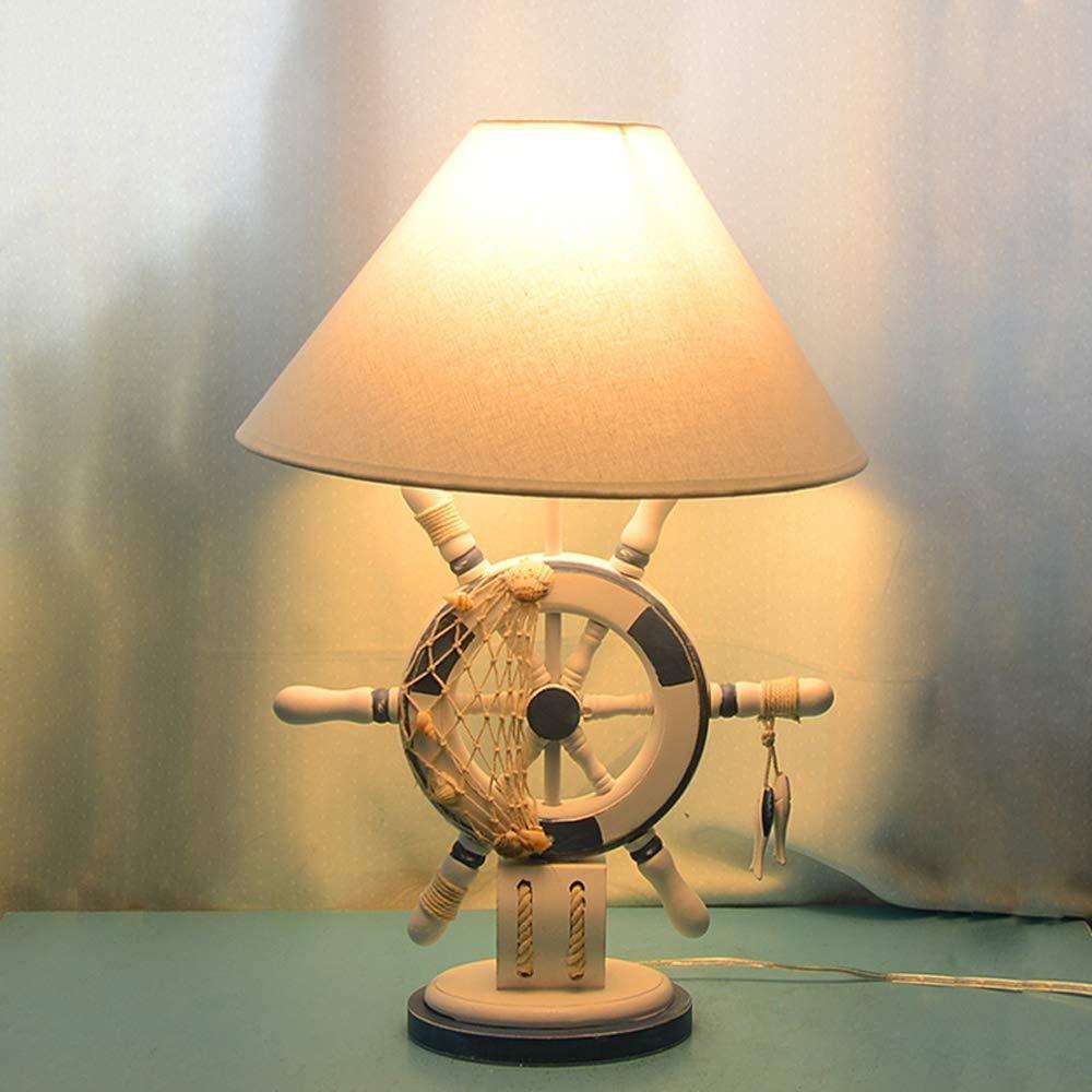 青と白の地中海のテーブルランプステアリングホイール子供部屋のテーブルランプ寝室研究ベッドサイドの装飾的なランプクリエイティブヨーロッパデスクトップ読書風景夜景 B07S1T19VT