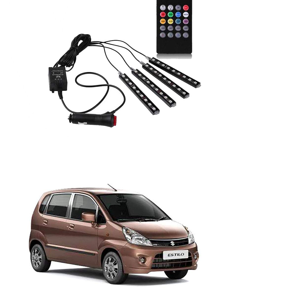 Car interior interior floor decoration atmosphere neon light lamp and sounds activated wireless ir remote control light for maruti suzuki zen estilo