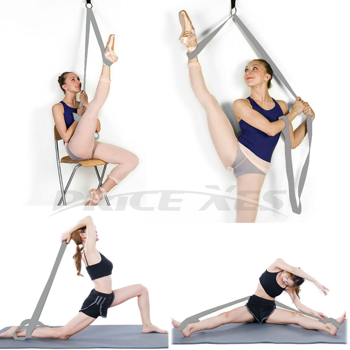 Leg Ballet Yoga Stretcher Get More Flexible Great for Cheer Dance Gymnastics or ANY Sport Trainer Premium stretch Fitness Equipment Band Flexibility /& Stretching Leg Straps Door Attachment