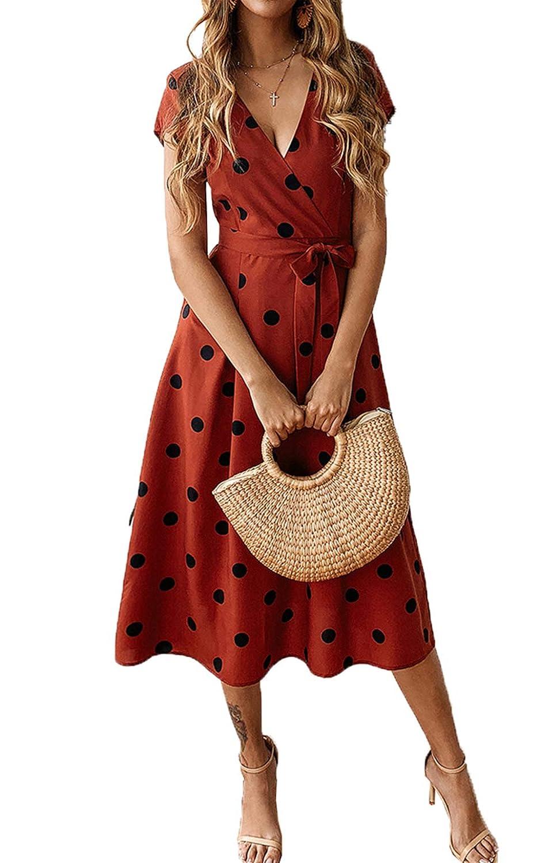 0ba7dab11f4 PRETTYGARDEN Women s Casual Wrap V Neck Short Sleeves Polka Dot Printed  Boho Beach Midi Dress with Belt at Amazon Women s Clothing store