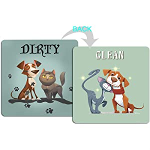 "4.7"" x4.7"" Double Sided Clean Dirty Dishwasher Magnet, Reversible Flexible Flip Sign, Waterproof UV Coating, Cat and Doggy Pattern Design,Kitchen Addition Premium Flip Sign Indicator(Dog and Cat)"