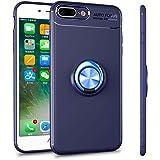 ALEVE iPhone8 Plus / iPhone7Plus ケース 薄型 軽量 耐衝撃 指紋防止 アイフォン8 / 7 プラス ケース リング付き 360度回転 車載ホルダー対応 スマホケース (iPhone8 Plus/7 Plus, ブルー+ブルー)