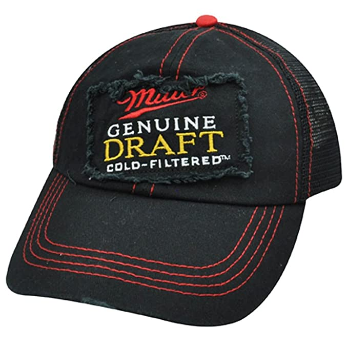 ee886bc35e6 Miller Genuine Draft Cold Filtered Beer Mesh Snapback Black Red Hat Cap  Ripped  Amazon.ca  Clothing   Accessories