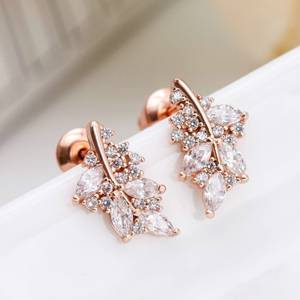Gold Plated Earring Women Girl Irregular Leaf Stud Earrings Rose Gold Wedding Business Gift