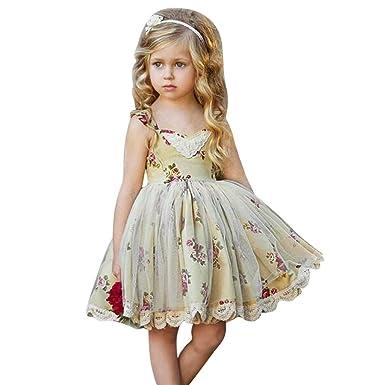 82c9c84d9 Bestow Vestidos de Novia de Desfile de Manga de Mosca de Malla con  Estampado de Flores de niñas Vestido de niña de niños pequeños  Amazon.es   Ropa y ...