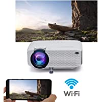 "WiFi Projector, 2019 Newest Wireless Projector, Mini Projector Portable for Home Outdoors, USB Directly Connect for Smartphones, 150"" Display for TV Stick, Video Game, Smartphone Home Theater Entertainment"