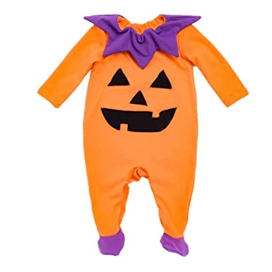 3598674d392c Beide Toddler Baby Girls Boys Halloween Pumpkin Footies 2 Piece Pajamas Set