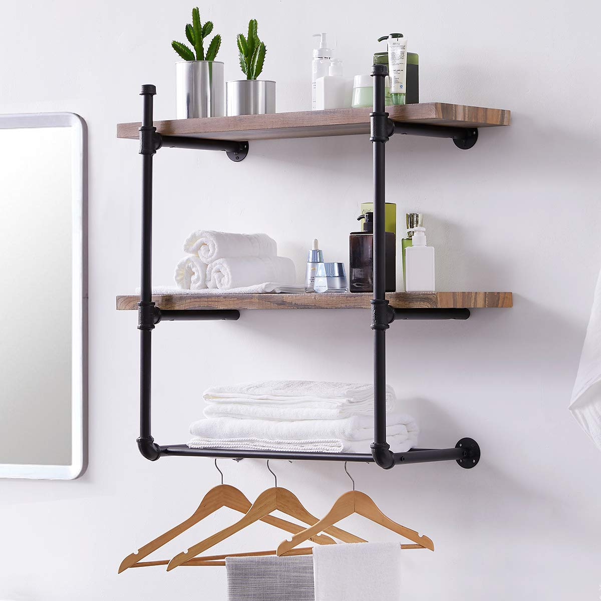 Homissue 3 Shelf Pipe Floating Wall Shelf, Vintage Industrial Wall Mounted Shelf with Metal Mesh Storage Display Racks for Bathroom&Living Room, Retro Brown by Homissue