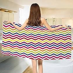 Chevron Bath towel Chevron Pattern Colorful Rainbow Inspired Festive Fun Enjoyment Artistic Design Cotton Beach Towel Multicolor (55x28)