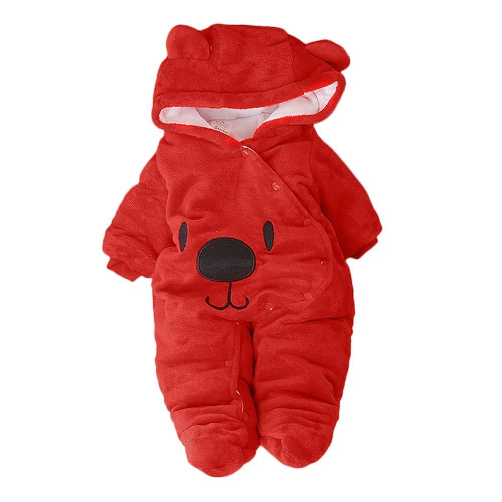 Fartido Newborn Baby Girl Boy Romper Solid Cartoon Bear Velvet Hooded Jumpsuit (Red, 3-6 Months)