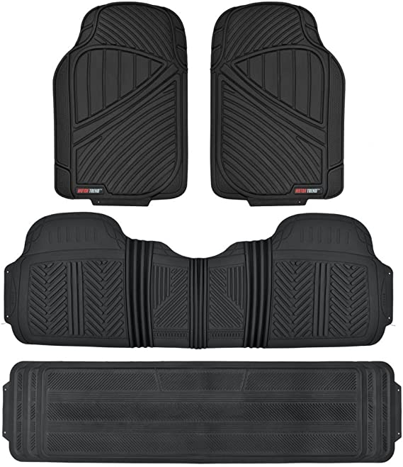 Motor Trend MT-773-801-BK Black 3 Rows FlexTough Series Rubber Floor Mats & Liners for Car SUV Van-Heavy Duty Full Interior