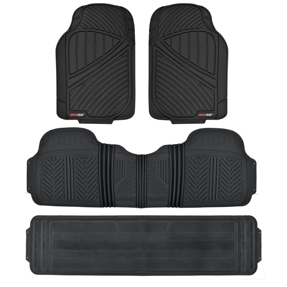 Motor Trend FlexTough, Durable and Flexible Rubber Car Floor Mats 3 Rows, Odorless EcoClean Liners, Extra-High Ridgeline Design MT-773-801-BK