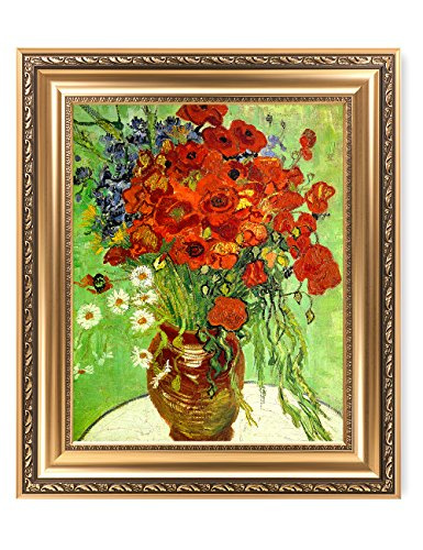 DECORARTS - Red Poppies and Daisies, Vincent Van Gogh Art Reproduction. Giclee Print& Framed Art for Wall Decor. Picture Size: 20x16, Framed Size: - Gogh Vincent Van Vase