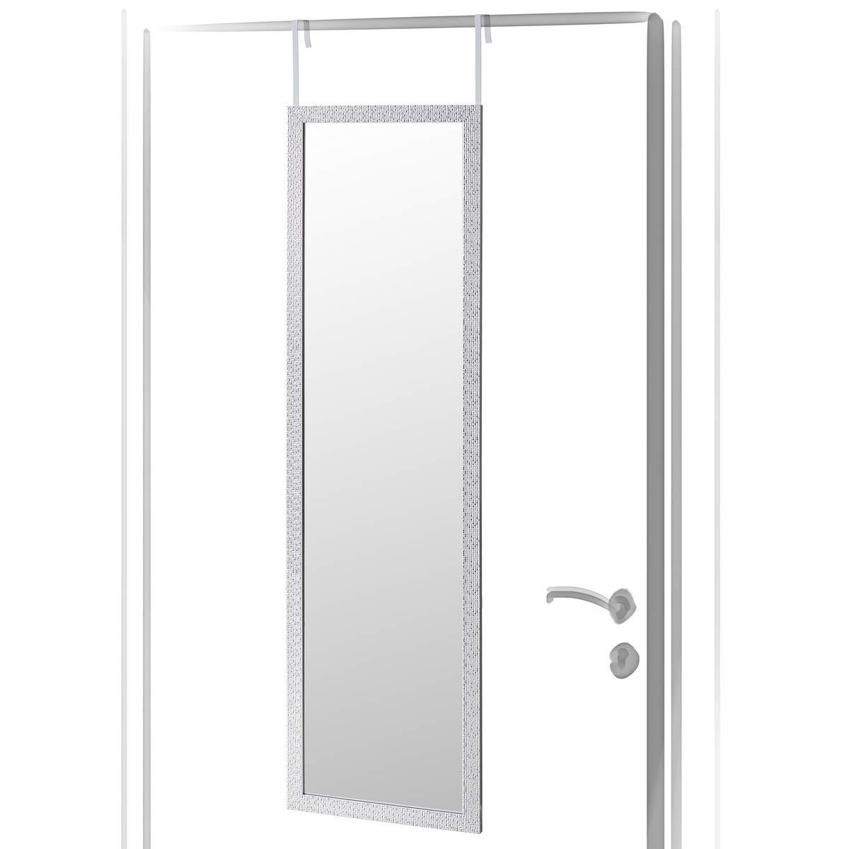 Espejo de Puerta Moderno Plateado de plástico para Dormitorio de 35 x 125 cm Arabia - LOLAhome: Amazon.es: Hogar
