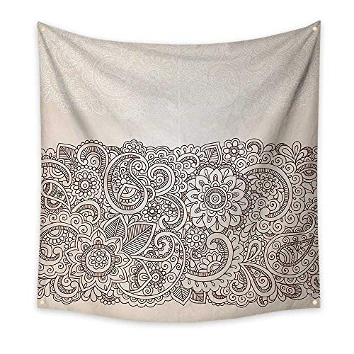 Paisley Needlepoint Brown (ParadiseDecor HennaSimple tapestryComplex Design with Mandala and Paisley Nature Inspired Traditional Victorian RevivalBig Tapestry 55W x 55L InchTan Brown)