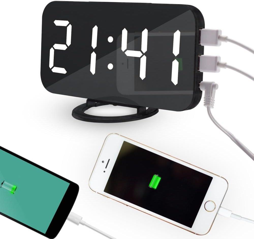 Snooze OXoqo Sveglia Digitale 3 Luminosit/à Regolabile Grande Luce Notturna Bianco Funzione Superficie speculare Orologio Digitale USB Alimentato 12 //24ore Display Sfondo a Grande cifra