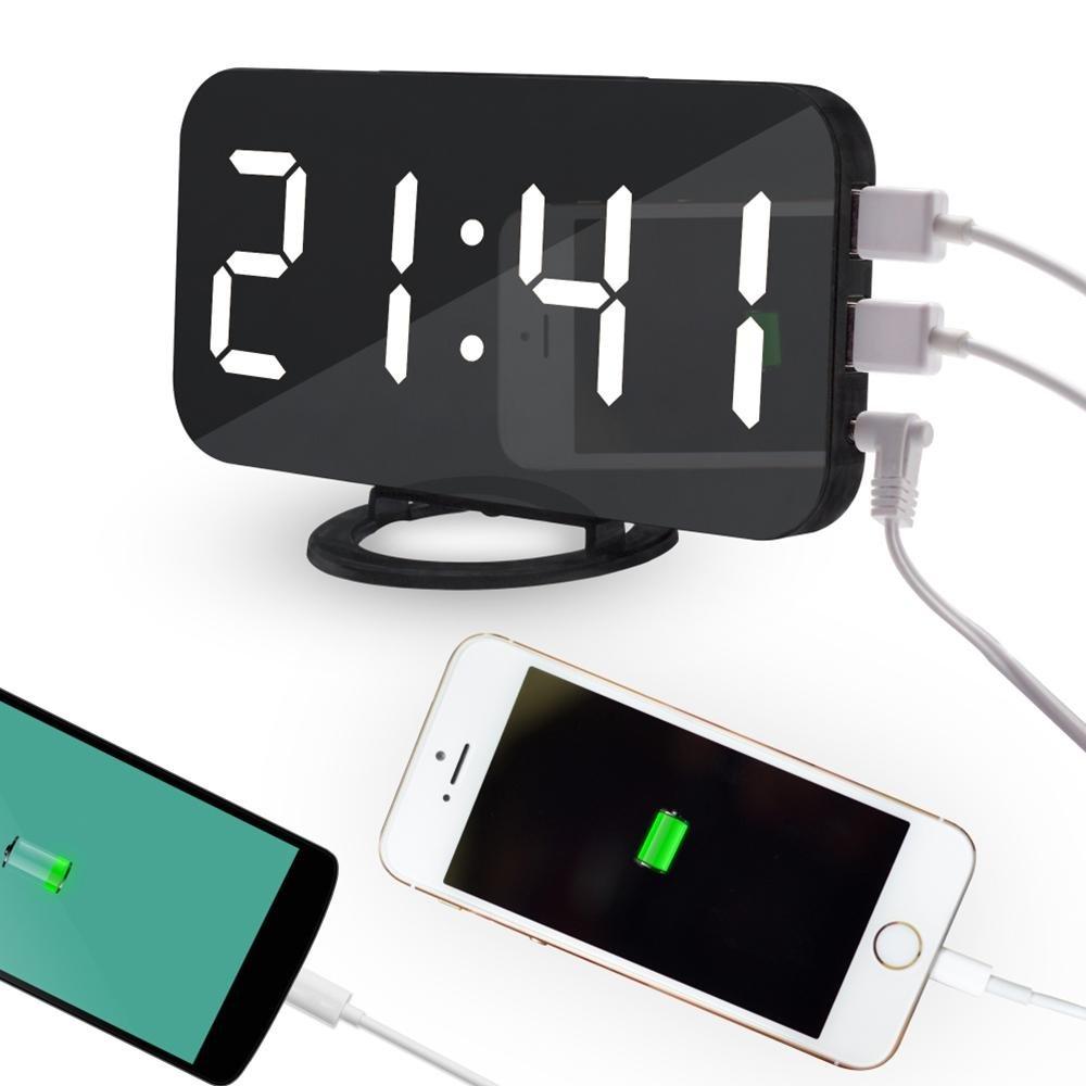 OXOQO Despertador Digitales, Reloj Despertador Digital, LED Digital Alarma Despertador Alimentado por USB, Snooze, Brillos Ajustables, 12/24 Horas, 2 ...