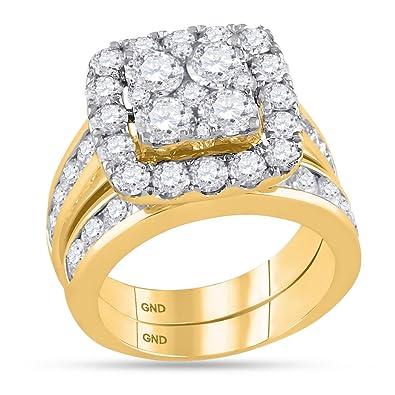 Amazon Com 14kt Yellow Gold Wedding Ring Set Womens Diamond Square