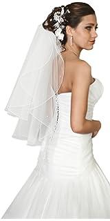 2-tier wedding prom bridal beaded veil waist length handmade decorated with 30 pearls