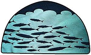 Non-Slip Bath Hotel Mats Fish,Surreal Ocean Life Theme,W24 x L16 Half Round Rugs for Sale