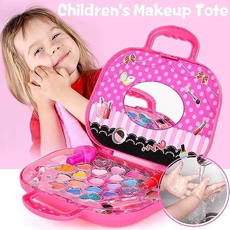 Kitabetty Estuche cosmético para niños, lavable, no tóxico Juego de maquillaje para niños Juego de cosméticos para niñas, caja de maquillaje para niñas, regalo de maquillaje, rosa: Amazon.es: Bebé