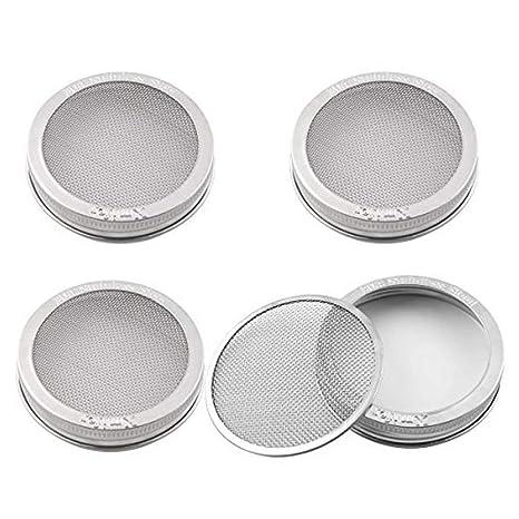 4//6 Stk Sprossengläser Deckel Edelstahl Sprießen Deckel für Weithal Mason Jars