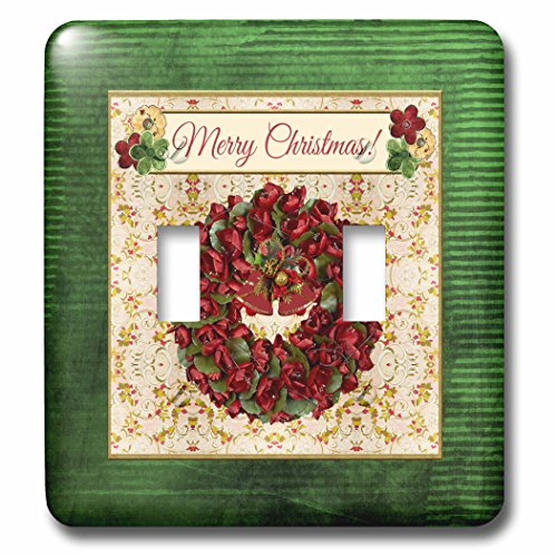 3dRose Beverly Turner Christmas Design - Holiday Red and Green Wreath, Bells, Holly Background, Merry Christmas - Light Switch Covers - double toggle switch (lsp_267926_2)