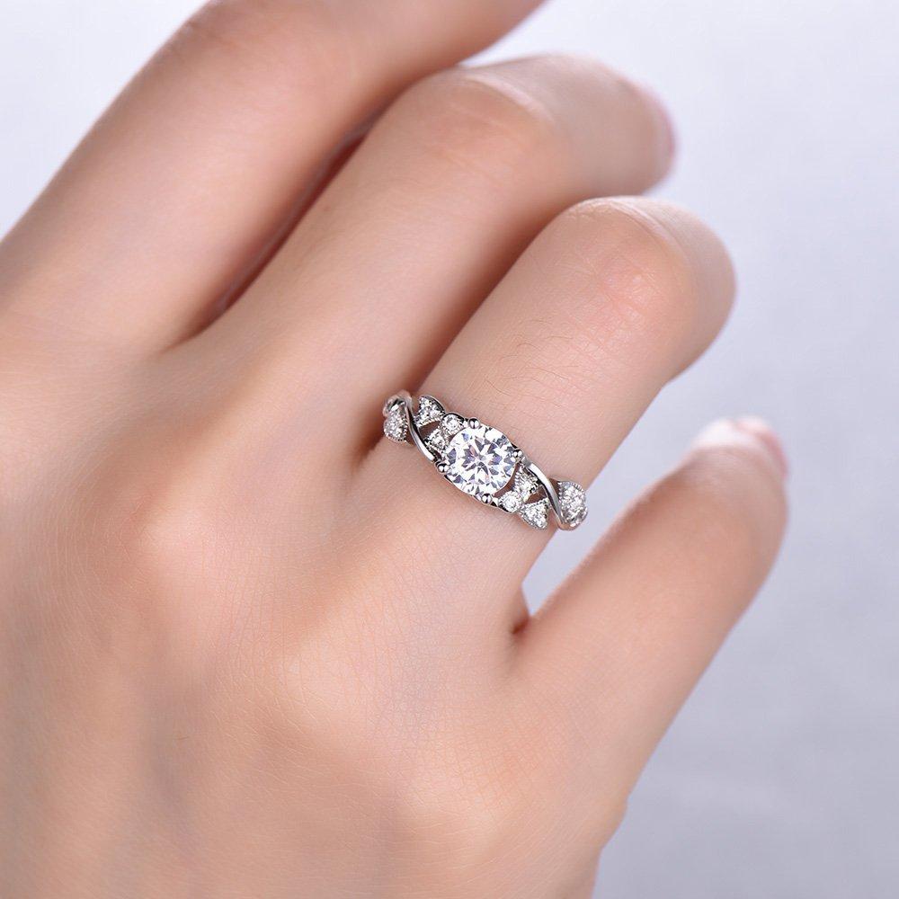 Amazon.com: Vintage Antique Wedding Ring Art Deco Engagement Ring ...