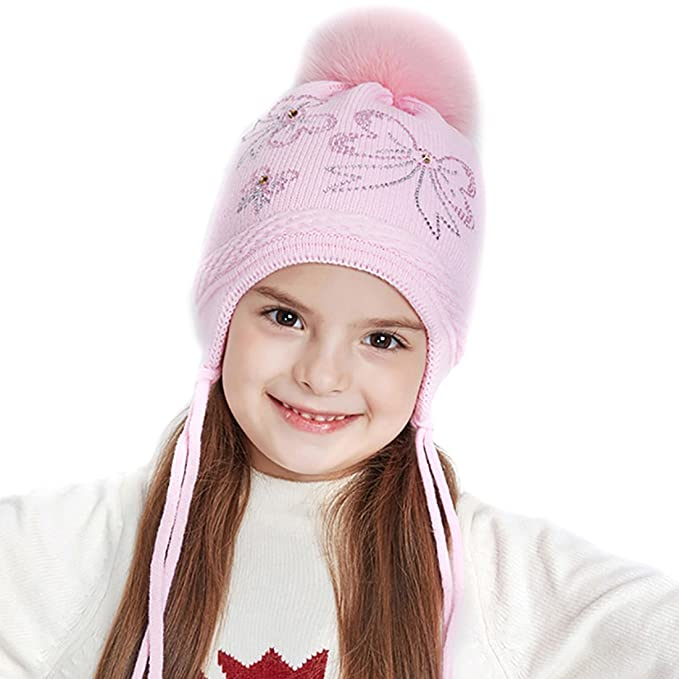URSFUR Winter Earflap Cap Girls Peruvian Hat Knit Beanie with Fox Fur Ball  Pom Bow- 67fc57239f0