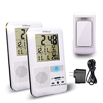 MLL Timbre inalámbrico Kit de Campanas con Dos receptores multifuncionales. con termómetro electrónico y Reloj Digital Operando a 1000 pies de Largo ...