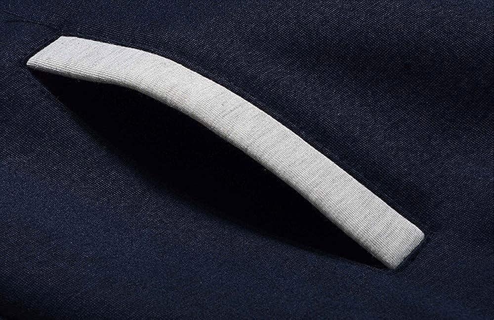 Yesmile ⭐ Abrigo de algodón de Invierno para Hombre Suéter con Cremallera con Capucha Chaqueta Informal Suelta Ropa de Abrigo Caliente Capa de Color Suave ...