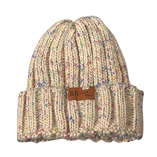1a64885b1da Smallrabbit Womens Knit Hats Fleece Lining Colorful Striped Chunky Winter  Knitted Beanie Cap (Beige) at Amazon Women s Clothing store