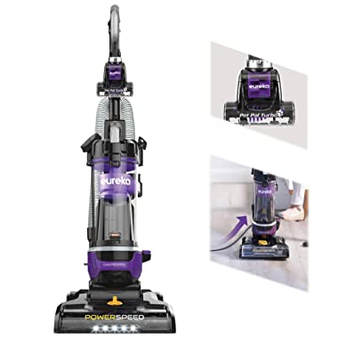 Eureka NEU202 PowerSpeed Pet Bagless Upright Vacuum Cleaner with Automatic Cord Rewind and LED Headlight, Purple