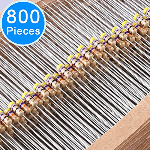 EAONE 800 Pieces 32 Values 5% Resistors Kit, 0 Ohm-1M Ohm 1/4W Carbon Film Resistors Assortment for DIY and (0.25% Carbon)