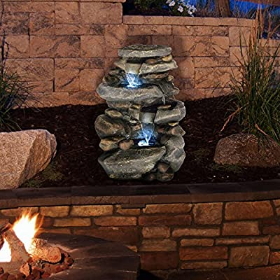 Outdoor Water Fountain With LED Lights, Lighted Cascade Waterfall, Natural Looking Stone and Soothing Sound for Patio and Garden Décor By Pure Garden - UNIQUE OUTDOOR DÉCOR WITH LED LIGHTING- This nature-inspired LED-lit cascade water fountain is truly an ideal blend of contemporary modern design, natural elements, and rustic charm, and it offers the tranquil and meditative sounds of running waters for a calming ambiance. The LED lights also help to illuminate the waters and offer a peaceful nighttime glow. With the water gently cascading over natural-looking stone tiers, the waterfall fountain is sure to be a vivid focal point on your patio, DURABLE DESIGN- Enjoy your outdoor, lawn, garden, or yard décor without worry. Made from sturdy polyresin material, this fountain is lightweight and weatherproof for longer lasting outdoor use. LOW MAINTENANCE AND EASY SET UP- The Pure Garden water fountains require no additional plumbing, stressful setup, or upkeep. Including a UL listed pump with 120gph maximum flow, all you need to do after assembly is fill it with the proper amount of water, and plug it in to a standard electrical outlet, and you are ready to enjoy the delightful sounds of nature. - patio, outdoor-decor, fountains - 61Gbk9YnVvL. SS400  -
