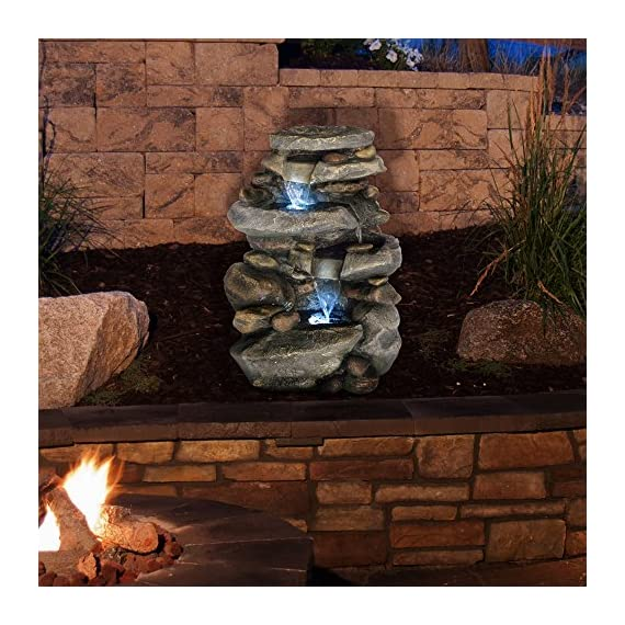 Outdoor Water Fountain With LED Lights, Lighted Cascade Waterfall, Natural Looking Stone and Soothing Sound for Patio and Garden Décor By Pure Garden - UNIQUE OUTDOOR DÉCOR WITH LED LIGHTING- This nature-inspired LED-lit cascade water fountain is truly an ideal blend of contemporary modern design, natural elements, and rustic charm, and it offers the tranquil and meditative sounds of running waters for a calming ambiance. The LED lights also help to illuminate the waters and offer a peaceful nighttime glow. With the water gently cascading over natural-looking stone tiers, the waterfall fountain is sure to be a vivid focal point on your patio, DURABLE DESIGN- Enjoy your outdoor, lawn, garden, or yard décor without worry. Made from sturdy polyresin material, this fountain is lightweight and weatherproof for longer lasting outdoor use. LOW MAINTENANCE AND EASY SET UP- The Pure Garden water fountains require no additional plumbing, stressful setup, or upkeep. Including a UL listed pump with 120gph maximum flow, all you need to do after assembly is fill it with the proper amount of water, and plug it in to a standard electrical outlet, and you are ready to enjoy the delightful sounds of nature. - patio, outdoor-decor, fountains - 61Gbk9YnVvL. SS570  -