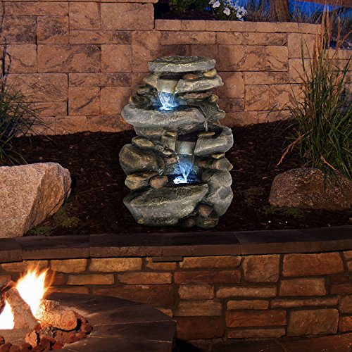 Outdoor Water Fountain With LED Lights, Lighted Cascade Waterfall, Natural Looking Stone and Soothing Sound for Patio and Garden Décor By Pure Garden from Pure Garden