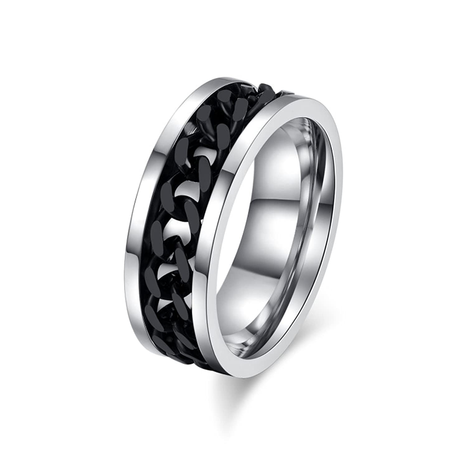 VALYRIA Jewelry Mens Stainless Steel Spinner Ring w/ Curb Chain Ring|Amazon.com