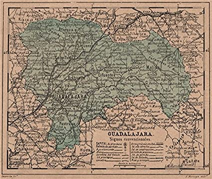 Mapa Provincia De Guadalajara.Amazon Com Guadalajara Castilla La Mancha Mapa Antiguo De