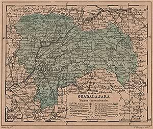 Guadalajara. Castilla-La Mancha. Mapa Antiguo de la Provincia – 1908 – Old Antiguo Mapa Vintage – Mapas de Impreso de España: Amazon.es: Hogar