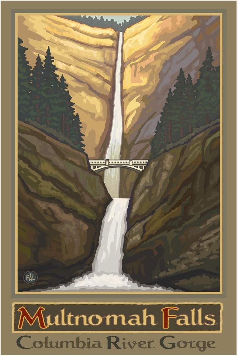 Amazon Com Multnomah Falls Oregon Columbia River Gorge No Car Giclee Art Print Poster From Original Travel Artwork By Artist Paul A Lanquist 12 X 18 Posters Prints